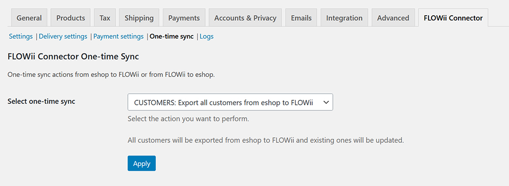 WooCommerce FLOWii Connector onetime sync