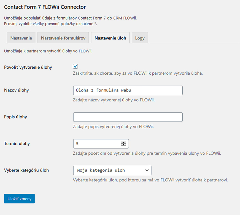 Contact Form 7 FLOWii Connector tasks